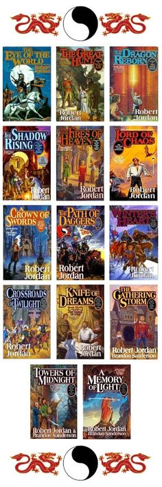 The Wheel of Time series. Begun by Robert Jordan and now being finished by Brandon Sanderson since Jordan's death. It's a massive undertaking, both for the author and the reader, with literally hundreds of charactes and multiple plotlines unfolding at once. This was the series that inspired me to pull out my old, complicated novel and start working on it again.