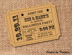 Halloween Invitation //invitations // ticket // movie // stub // harvest festival // open house // party // admission // fair // coupon // carnival   Available at: www.etsy.com/shop/styledbykristen