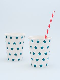 Blue star paper cups