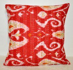 couch pillow  16x16 red Kantha Pillow ikat cushion ikat pillow by JaipurHandloom, $14.99