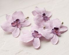 Lilac orchid hair flower set of 4   flower hair by GentleDecisions, $18.40