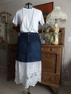 Denim Blue Jean Skirt With Lace Bottom And Front Pockets Altered Couture Upcycled by MissPoppysFancy on Etsy
