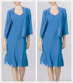 Discount 2015 New Fashion Chiffon Dress Mother of The Bride Dress With Jacket Long Sleeve Wedding Party Simple Cheap Knee Length Plus Size Dress N28 Online with $103.67/Piece | DHgate