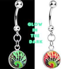 Glow in the Dark Tie Dye Swirl Dangle Belly Ring $7.99
