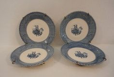 Blue Transferware 4 pc set Currier & Ives Plate by SailsByTheBeach