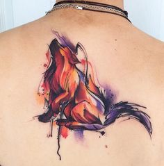 Wolf Watercolor Back Piece | Best tattoo ideas & designs