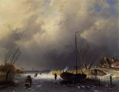 A Winter Landscape with Skaters by Charles Henri Joseph Leickert