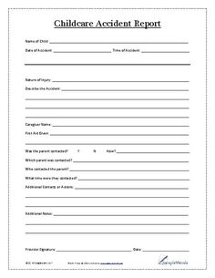 Incident Report Form Child Care  Behavior Incident Report  Doc