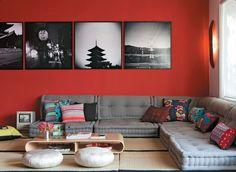 Sala com decoração oriental
