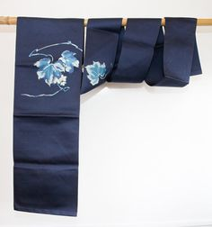 Blue Authentic Japanese Vintage Nagoya Obi with Leaf by CJSTonbo