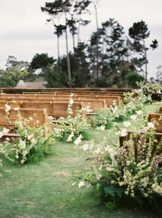 Ceremony floral inspiration- on the back of the aisle vs down it.