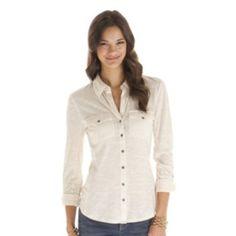 daisy fuentes Roll-Tab Slubbed Shirt - Petite