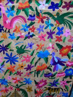 Guatemalan Maya HAND-EMBROIDERED Bird & Flower Tapestry.