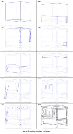 How to Draw a Four-poster bed printable step by step drawing sheet : DrawingTuto Drawing Skills, Drawing Tips, Drawing Reference, Drawing Sketches, Learn Drawing, Sketching, Perspective Drawing Lessons, Perspective Art, Drawing Interior