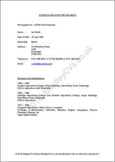 Sample CVs UK and international designed by Bradley CVs