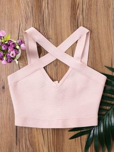 Cutout Cropped Tank Top - Pig Pink
