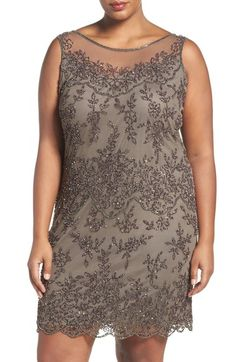 Pisarro Nights Illusion Neck Beaded Cocktail Dress (Plus Size) available at #Nordstrom