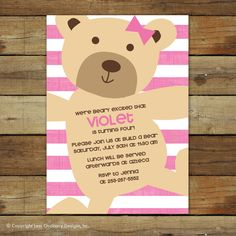 teddy bear baby shower or birthday party invitation . . . sweet teddy bear. $15.00, via Etsy.