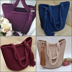 Shopper with leather bottom bag crochet Because these hand bags can certainly Crochet Sole, Crochet Star Stitch, Diy Crochet, Hand Crochet, Crochet Stitches, Crochet Patterns, Crotchet Bags, Knitted Bags, Crochet Handbags