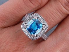 2.5/8 CT Cushion Cut Lab Created Halo Aquamarine Engagement Ring 14K White Gold #br925silverczjewelry #SolitairewithAccents #WeddingEngagementAnniversaryBirthdayGift