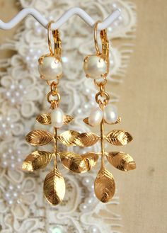 Gold leaf earrings ,bridal jewelry , wedding jewelry , shabby chic style -18k gold plated. $36.00, via Etsy.