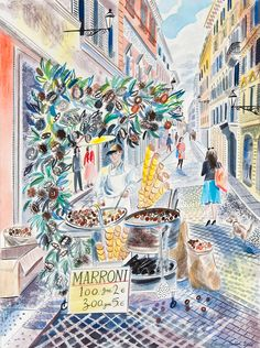 Emily Sutton's 'Chestnut Seller, Rome' watercolour