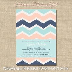 Modern Chevron Baby Girl Shower Invitation, Pink & Navy 5x7 printable. $14.00, via Etsy.