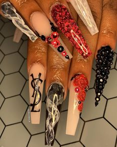 📌 & add me for more pins Drip Nails, Bling Acrylic Nails, Best Acrylic Nails, Bling Nails, Sassy Nails, Cute Nails, Pretty Nails, Cute Acrylic Nail Designs, Exotic Nails