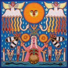 The Mother of Corn, Antonio Carrillo de la Cruz (Huichol). Painting with Wood & Yarn