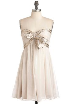 Elegance With a Sparkle Dress - Short, Cream, Bows, Sequins, Holiday Party, Empire, Strapless, Sweetheart