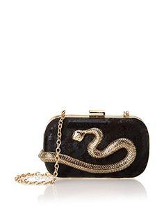 La Regale Women's Snake Minaudiere, Gold/Black