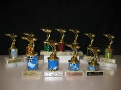 Small Pinewood Derby Trophies made by Scorpion Ridge to your specifications