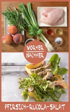 http://eatsmarter.de/rezepte/pfirsich-rucola-salat Diesen Salat müsst Ihr unbedingt probieren. Fruchtig trifft auf herzhaft.