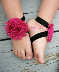 20%OFF .. Baby Barefoot Sandals .. Hot Pink with Black Polka Dots .. Toddler Sandals .. Newborn Sandals