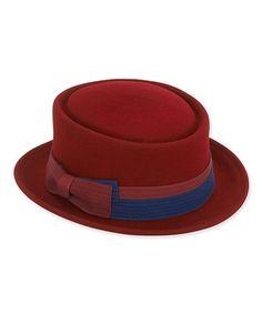 Love this Burgundy & Navy Ribbon Adjustable Wool-Blend Porkpie Hat on #zulily! #zulilyfinds