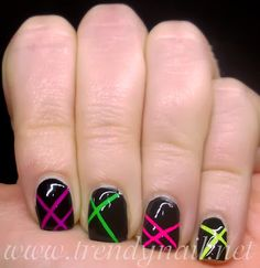Trendy Nail: Nail art tutorial: Neon tape http://www.deal-shop.com/product/neutrogena-makeup-remover/