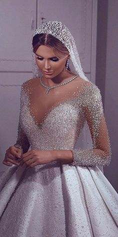 Choosing a wedding dress? There are many variations of different dresses, but one of the best is illusion long sleeve wedding dresses. Fancy Wedding Dresses, V Neck Wedding Dress, Long Sleeve Wedding, Princess Wedding Dresses, Bridal Dresses, Wedding Gowns, Weeding Dress, Illusion Wedding Dresses, Pronovias Wedding Dress