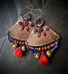 Tribal Southwest Coral Frida Kahlo Flowers African Beads