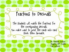 Here's a set of cards for matching fractions to their decimal equivalents.