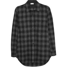 Saint Laurent Plaid wool shirt ($436) ❤ liked on Polyvore featuring tops, shirts, blouses, flannel, dark gray, loose shirts, tartan shirt, wool shirt, button shirt and loose tops