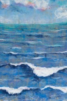 Original abstract sea Acrylic Painting Landscape Painting Canvas art Beach Wave on canvas fabric Wet Felting, Needle Felting, Ocean Quilt, Felt Wall Hanging, Thread Painting, Painting Canvas, Canvas Art, Felt Pictures, Felt Embroidery
