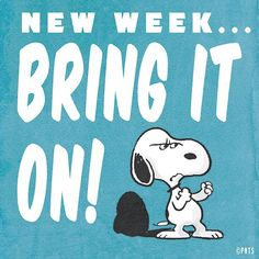 New Week Bring It On quotes quote snoopy monday days of the week monday quotes happy monday quotes Snoopy Love, Snoopy And Woodstock, Peanuts Cartoon, Peanuts Snoopy, Snoopy Cartoon, 9gag Funny, Funny Drunk, Drunk Texts, Happy Monday Quotes