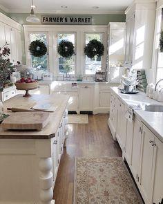 The Ultimate Modern Rustic Farmhouse Kitchen Cabinets Ideas Trick - walmartbytes White Farmhouse Kitchens, Farmhouse Kitchen Cabinets, Kitchen Countertops, Home Kitchens, Rustic Farmhouse, Farmhouse Style, Wood Cabinets, White Cabinets, Green Cabinets