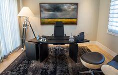 Pratt Designs :: Cherry Creek :: Masculine with an Industrial Flair Home Office #interiordesign #contemporary #masculine #homeoffice #popofcolor #accessories #cherrycreek #denver #colorado