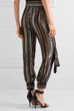 Haney - Colette Metallic Striped Silk-blend Lamé Tapered Pants - US