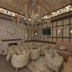 Гостиная со столовой в стиле кантри. Фото интерьера с жаккардовыми тканями и гобеленами