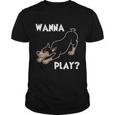 Wanna Play Dark T Shirt Grandpa Grandma Dad Mom Boy Girl Lady Dog Dobie Pinscher  Lover