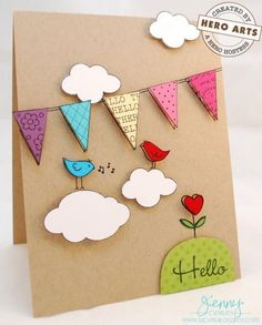 Hello Hero Arts Hostess by jennysbugbites – Cards and Paper Crafts at Splitcoaststampers - Karten Basteln Homemade Birthday Cards, Homemade Cards, Birthday Card Drawing, Tarjetas Diy, Valentines Diy, Creative Cards, Greeting Cards Handmade, Diy Cards, Scrapbook Cards