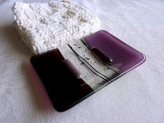 Glass Soap Dish in Dark Plum and Violet