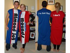 Almond Joy Couples Costume - no, this isn't us but I, a non-sewing crafter, made these. I used broadcloth (red, white, blue) for the body and felt (white and black) for the letters. I also used double-sided interfacing (thanks to my quilting sister who told me about this stuff) to stick the letters on. pmd